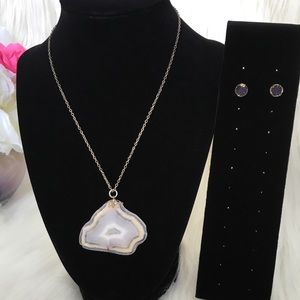Agate Necklace with Druzy Stud Earrings